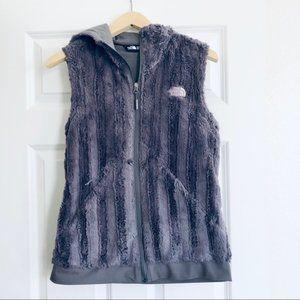 The North Face Faux Fur Grey Hoodies Zip Vest S